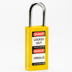 "Image of Brady LONG BODY SFTY LOCK, 1.5"" KD YELLOW 6/PK"