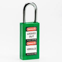 "Image of Brady LONG BODY SFTY LOCK, 1.5"" KD GREEN 6/PK"