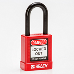 Image of Brady SFTY SECU PADLOCK 38MM ST SHA KD RED/6