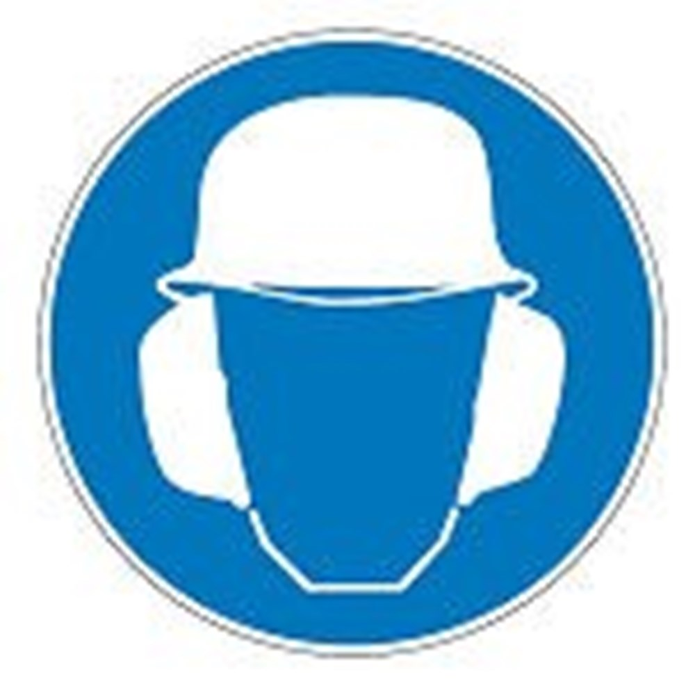910656 Safety Sign Wear Ear And Head Protection Symbol Only