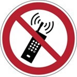 Image of 823495 - ISO Safety Sign - No activated mobile phones