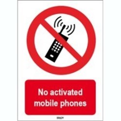 Image of 823549 - ISO 7010 Sign - No activated mobile phones