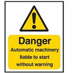 Image of 701808 - Hazard Warning Sign - Danger Automatic machinery liable to start without warning